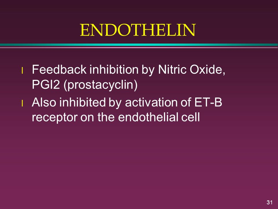 ENDOTHELIN Feedback inhibition by Nitric Oxide, PGI2 (prostacyclin)