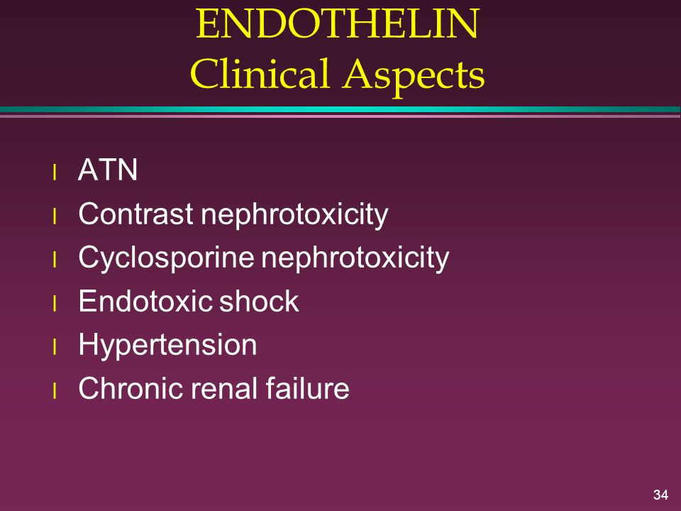 ENDOTHELIN Clinical Aspects