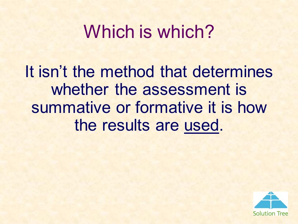 Which is which It isn't the method that determines whether the assessment is summative or formative it is how the results are used.