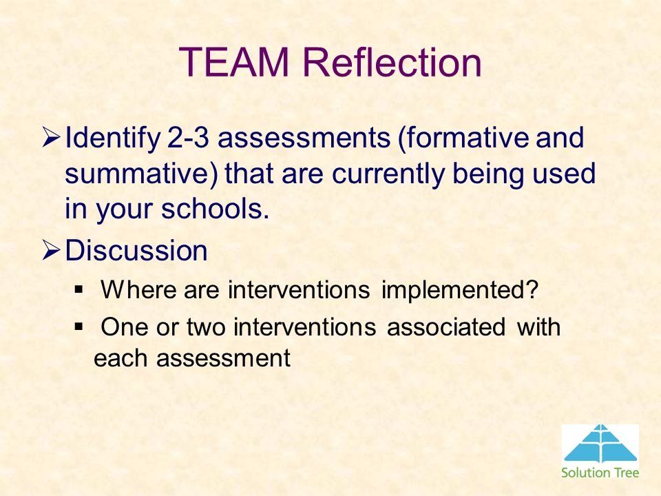 TEAM Reflection Identify 2-3 assessments (formative and summative) that are currently being used in your schools.