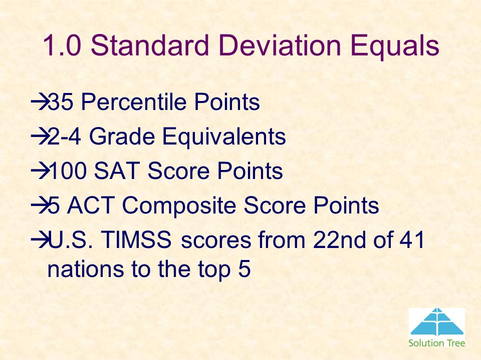1.0 Standard Deviation Equals