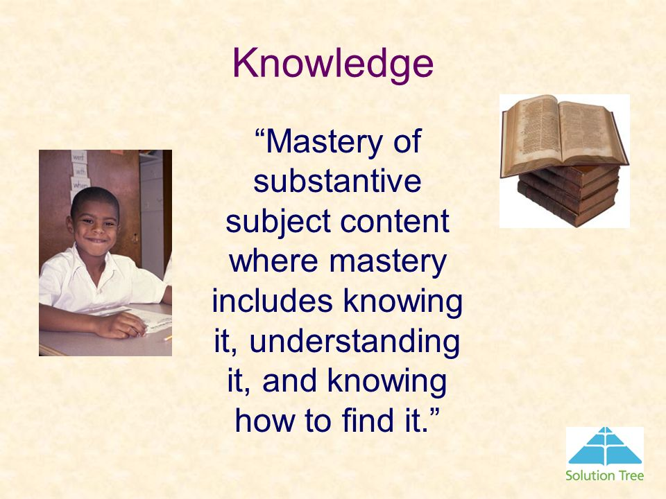 Knowledge Mastery of substantive subject content where mastery includes knowing it, understanding it, and knowing how to find it.