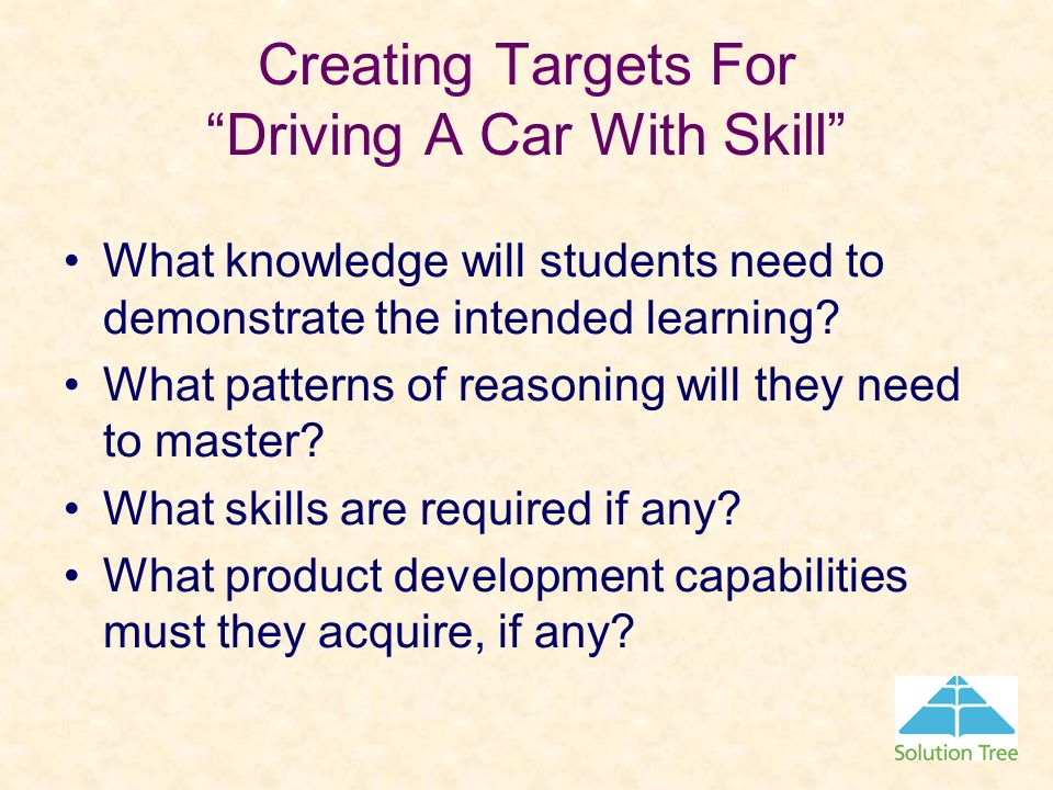 Creating Targets For Driving A Car With Skill