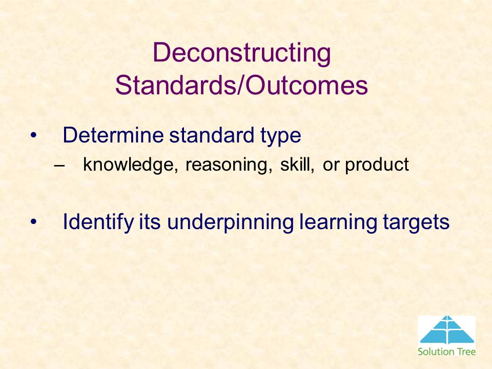 Deconstructing Standards/Outcomes