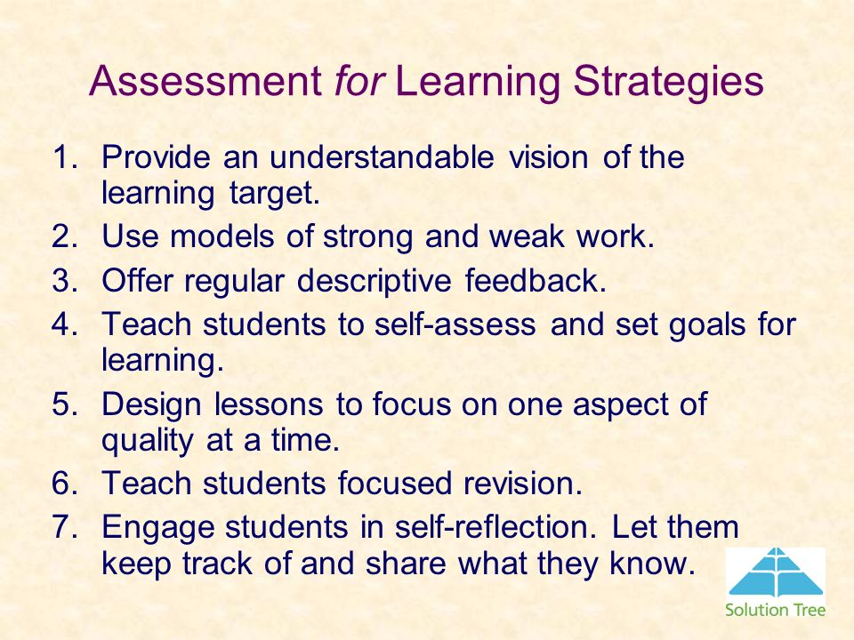 Assessment for Learning Strategies