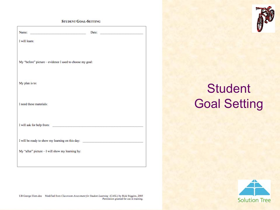 Student Goal Setting Using the Strengths, Review, and Further Study Form the student will complete the Student Goal Setting Form.