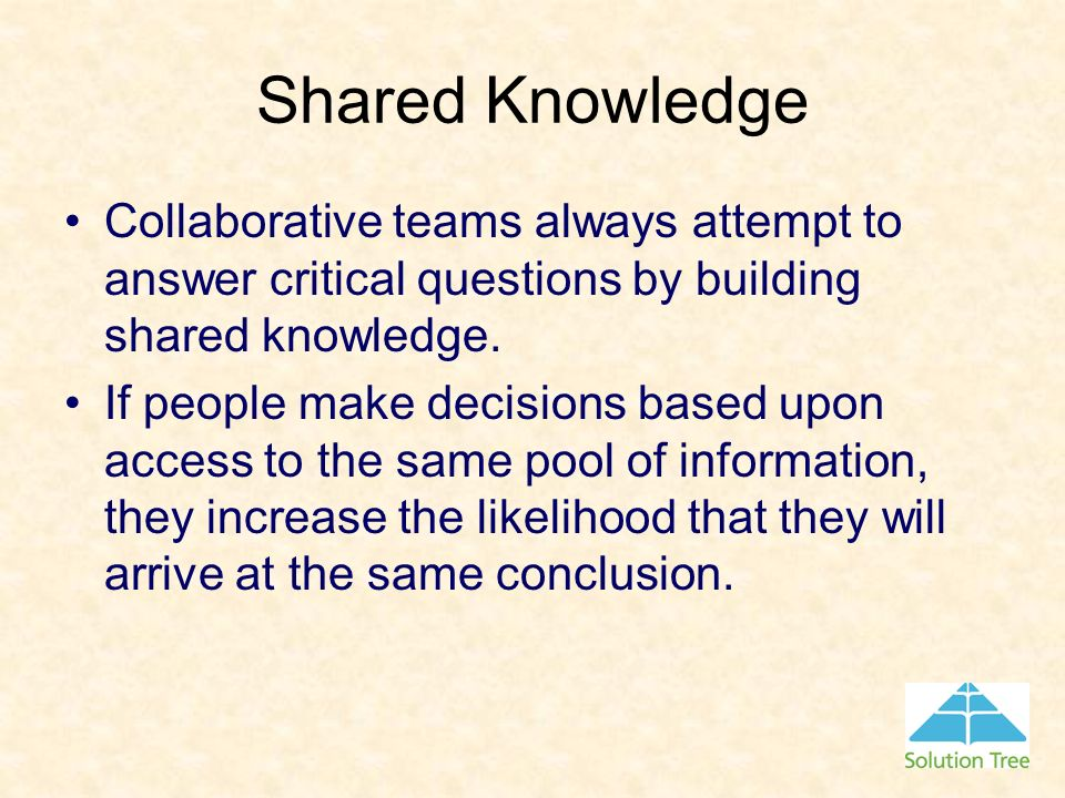 Shared Knowledge Collaborative teams always attempt to answer critical questions by building shared knowledge.