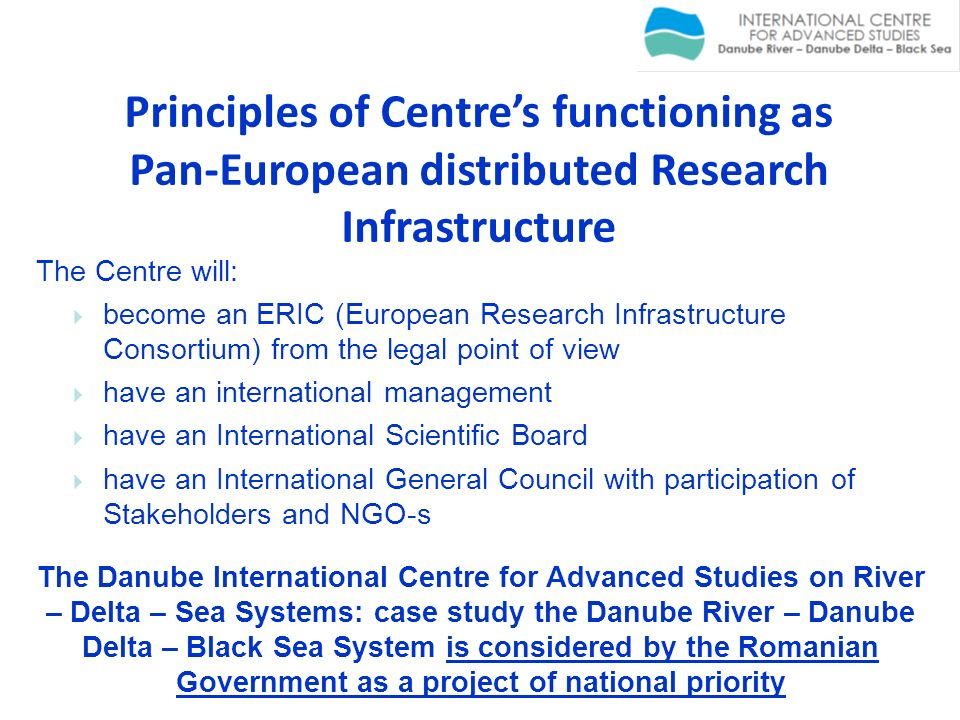 Principles of Centre's functioning as Pan-European distributed Research Infrastructure