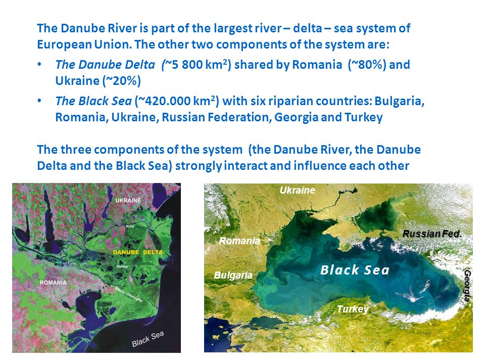 The Danube River is part of the largest river – delta – sea system of European Union. The other two components of the system are: