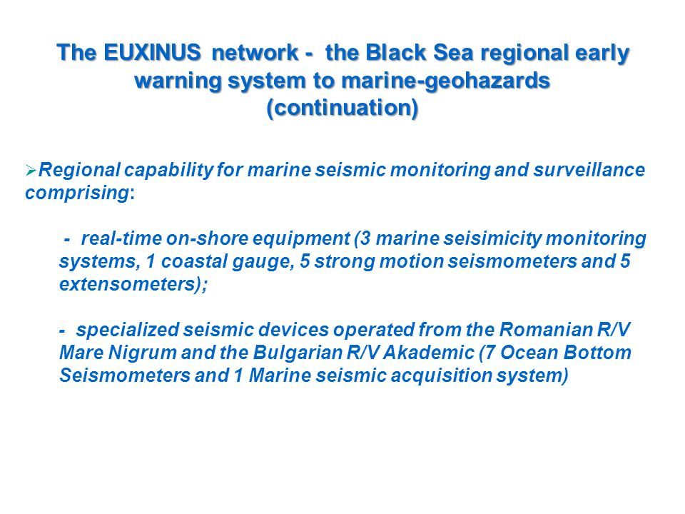 The EUXINUS network - the Black Sea regional early warning system to marine-geohazards
