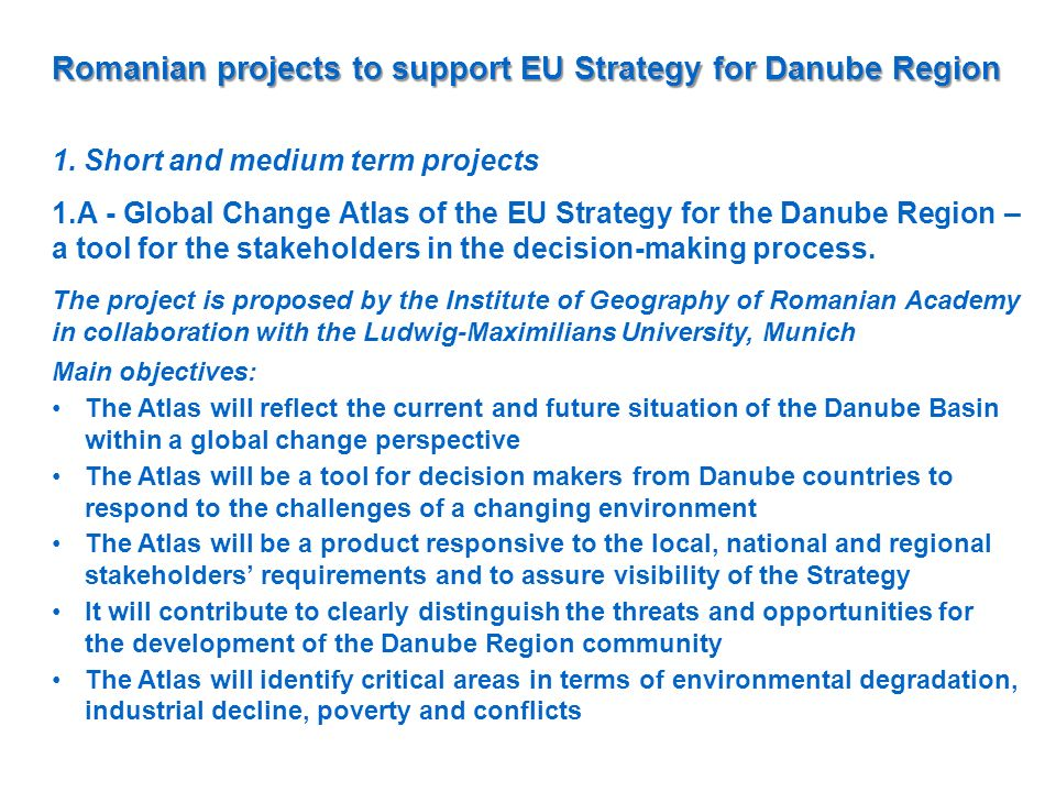 Romanian projects to support EU Strategy for Danube Region