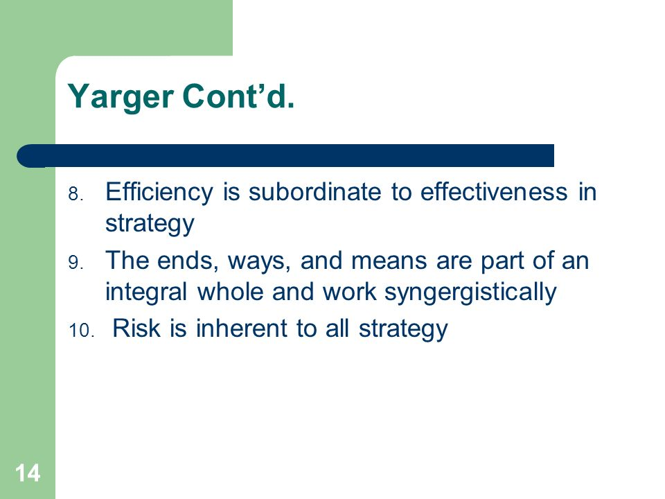 Yarger Cont'd. Efficiency is subordinate to effectiveness in strategy