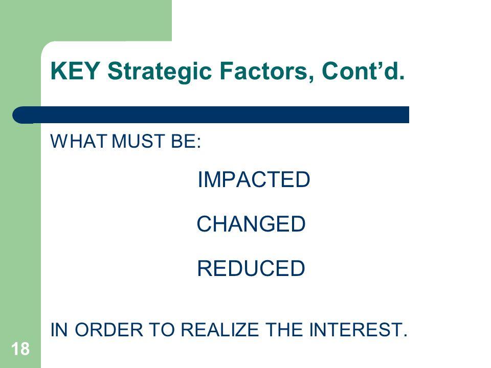 KEY Strategic Factors, Cont'd.