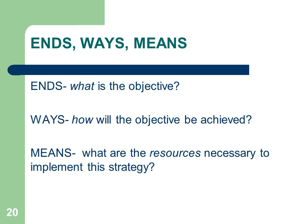 ENDS, WAYS, MEANS ENDS- what is the objective
