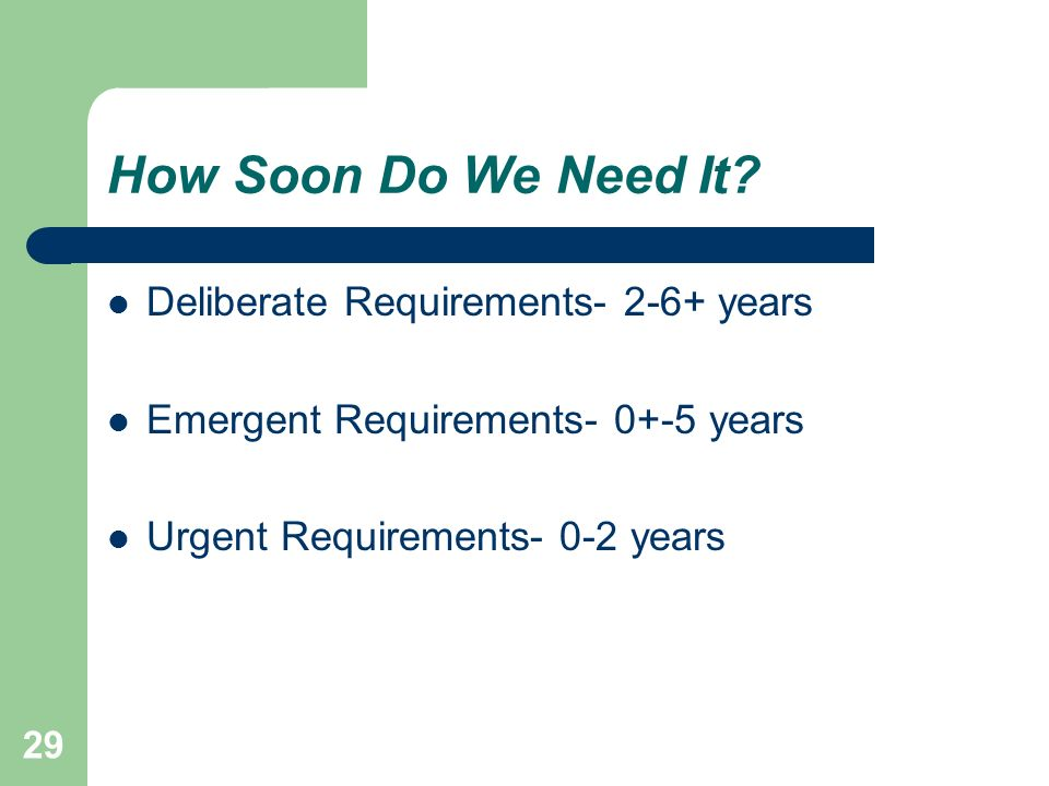 How Soon Do We Need It Deliberate Requirements years
