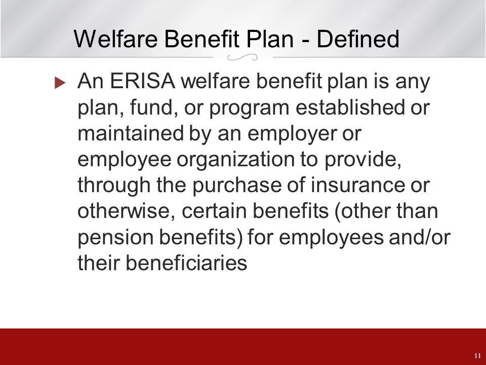 Welfare Benefit Plan - Defined