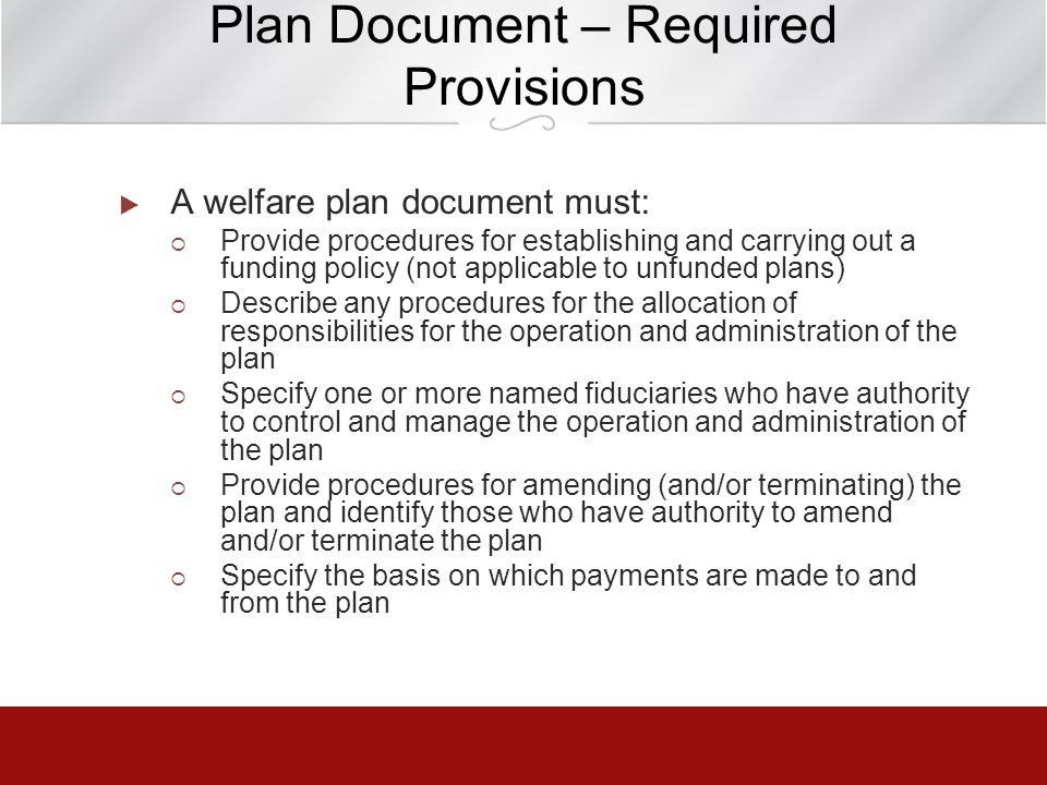 Plan Document – Required Provisions