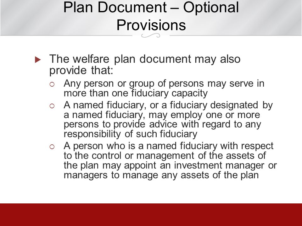 Plan Document – Optional Provisions