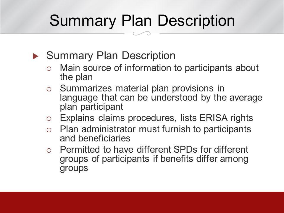 Summary Plan Description