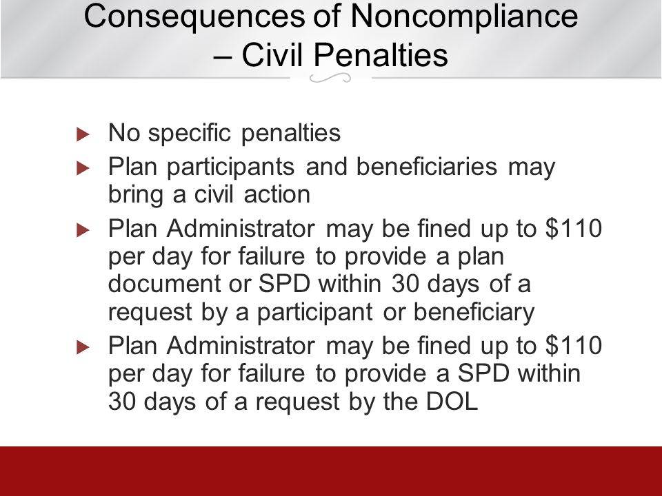 Consequences of Noncompliance – Civil Penalties