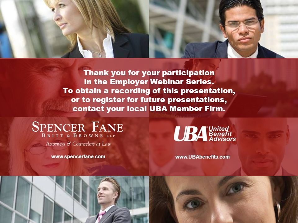 Thank you for your participation in the Employer Webinar Series