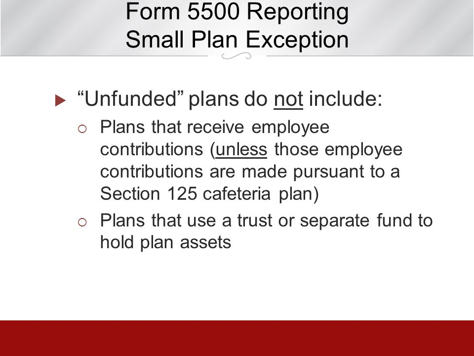 Form 5500 Reporting Small Plan Exception