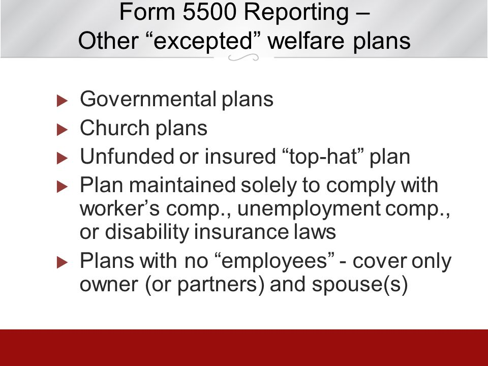 Form 5500 Reporting – Other excepted welfare plans