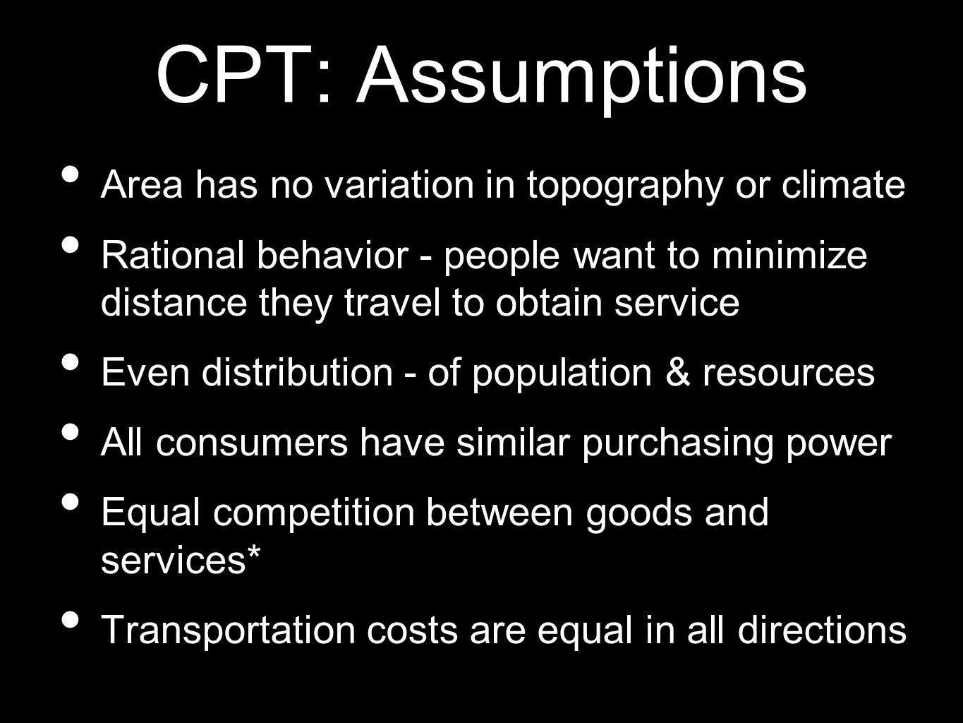 CPT: Assumptions Area has no variation in topography or climate