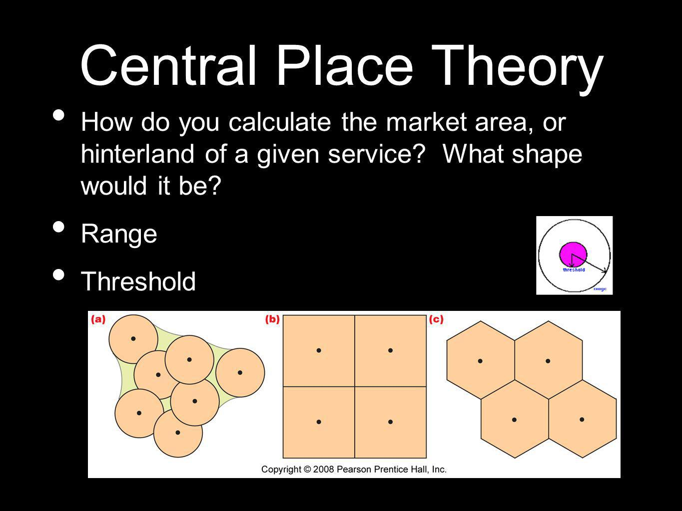 Central Place Theory How do you calculate the market area, or hinterland of a given service What shape would it be