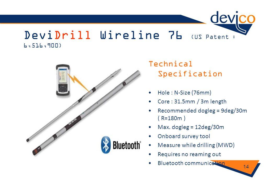 DeviDrill Wireline 76 (US Patent : 6,516,900)