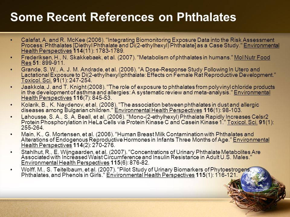 Some Recent References on Phthalates