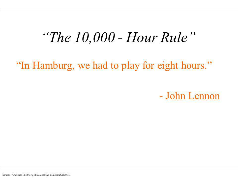 The 10,000 - Hour Rule In Hamburg, we had to play for eight hours.