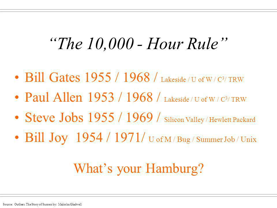 The 10,000 - Hour Rule Bill Gates 1955 / 1968 / Lakeside / U of W / C3/ TRW. Paul Allen 1953 / 1968 / Lakeside / U of W / C3/ TRW.
