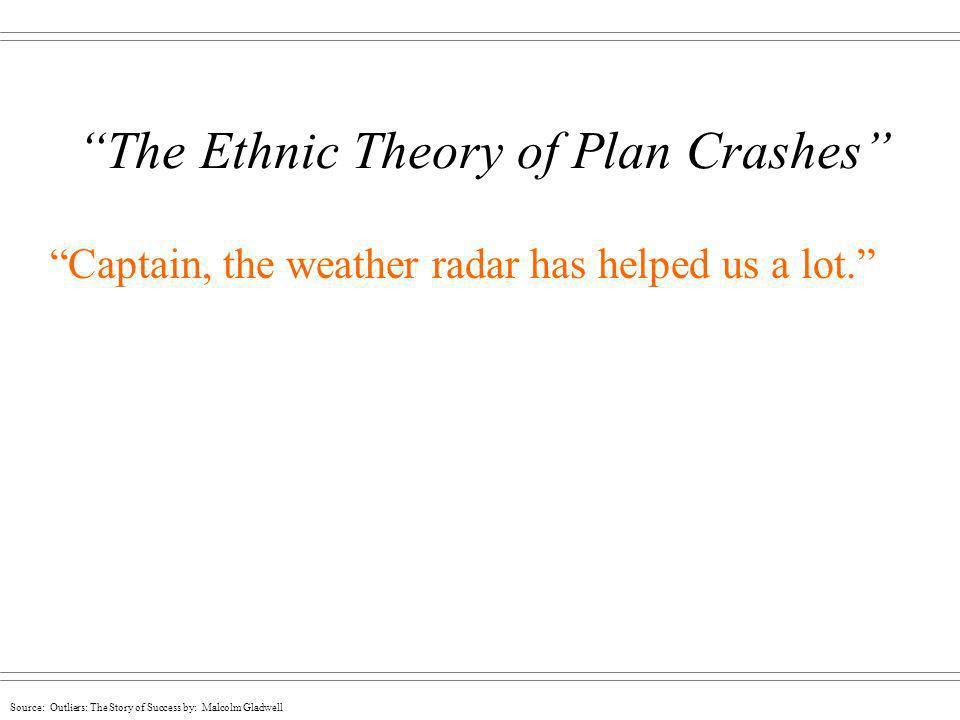 The Ethnic Theory of Plan Crashes