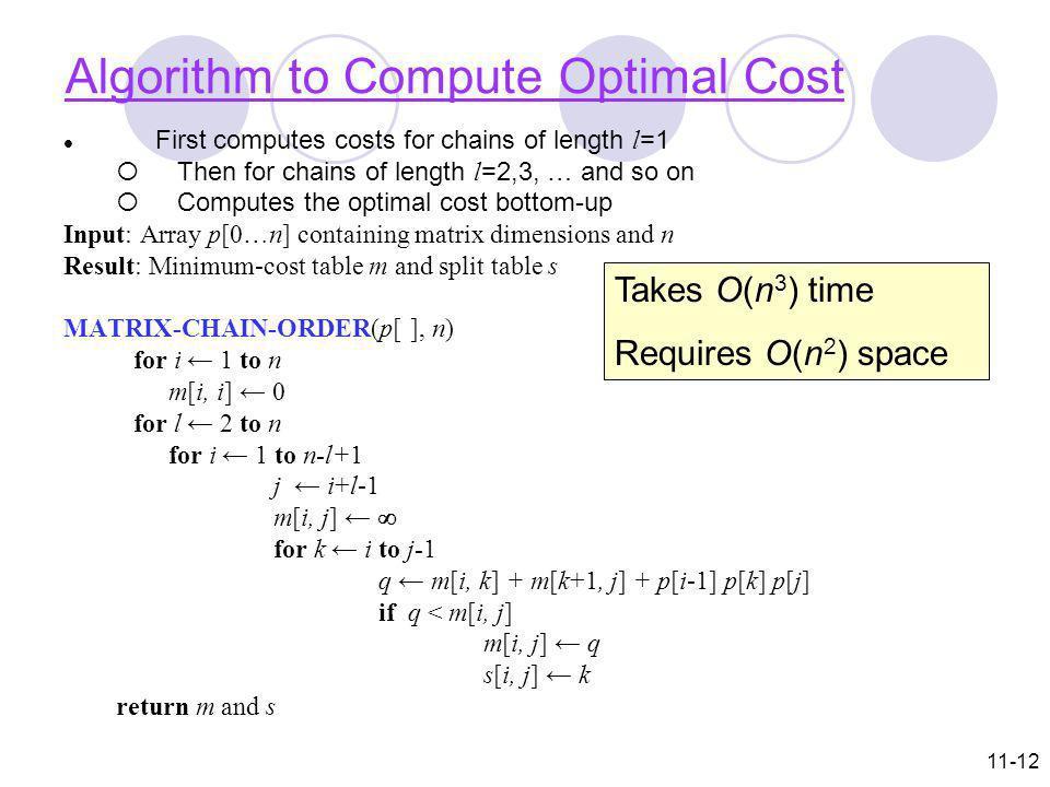 Algorithm to Compute Optimal Cost