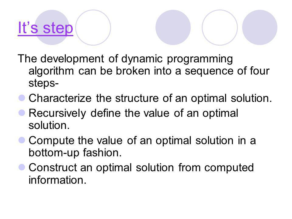 It's step The development of dynamic programming algorithm can be broken into a sequence of four steps-