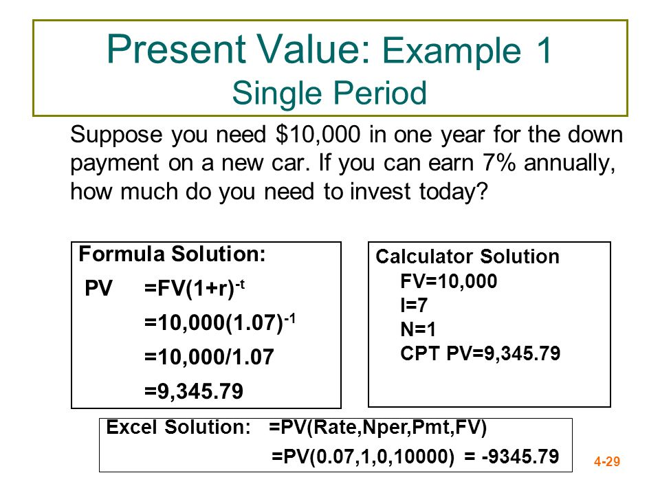 Present Value: Example 1 Single Period