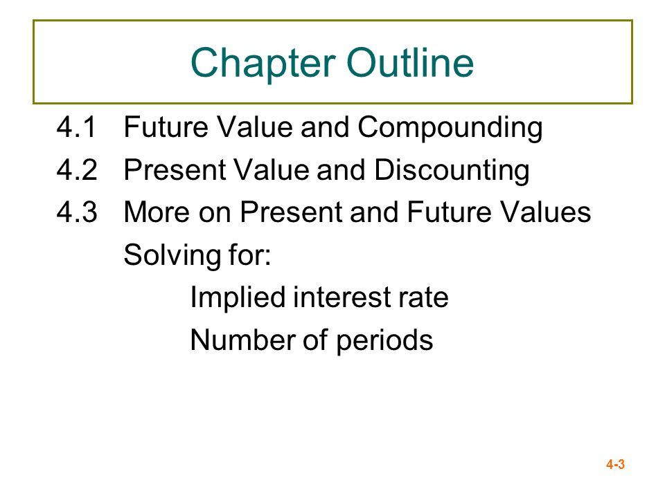 Chapter Outline 4.1 Future Value and Compounding