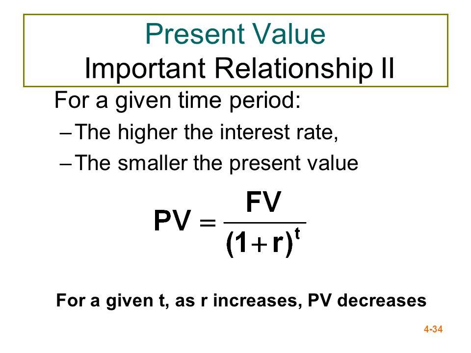 Present Value Important Relationship II