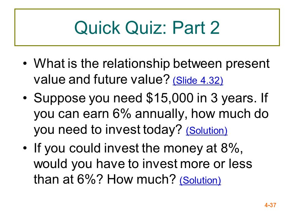 Quick Quiz: Part 2 What is the relationship between present value and future value (Slide 4.32)