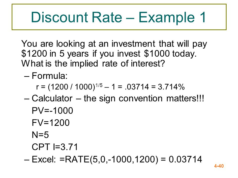Discount Rate – Example 1
