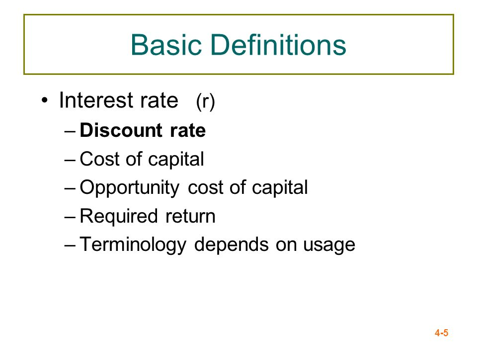 Basic Definitions Interest rate (r) Discount rate Cost of capital