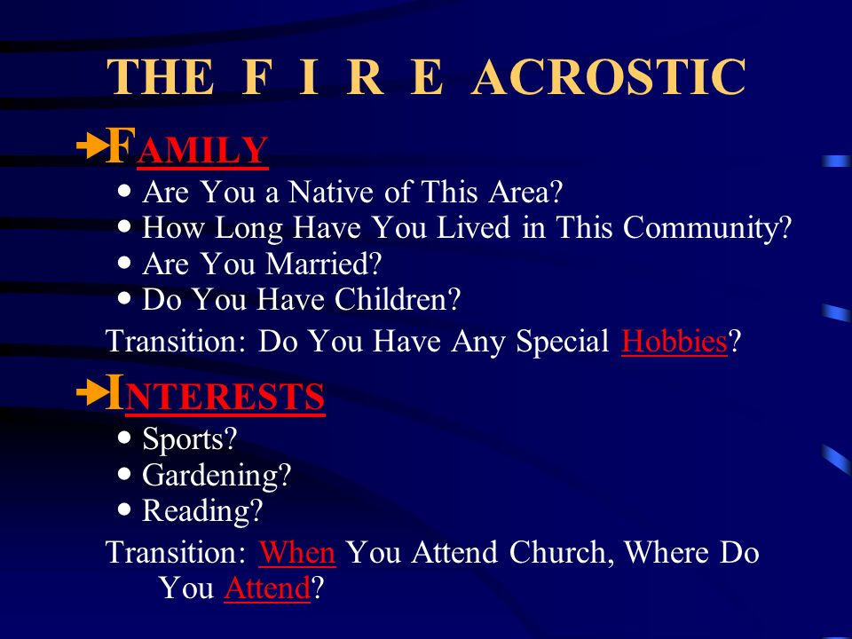 THE F I R E ACROSTIC FAMILY INTERESTS Are You a Native of This Area