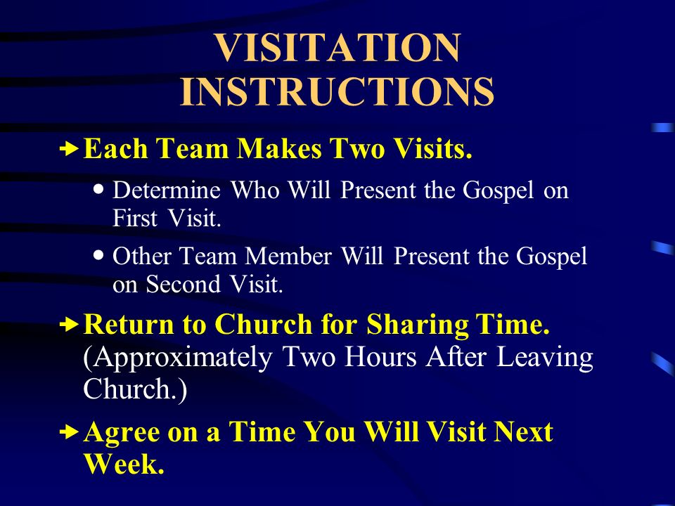 VISITATION INSTRUCTIONS