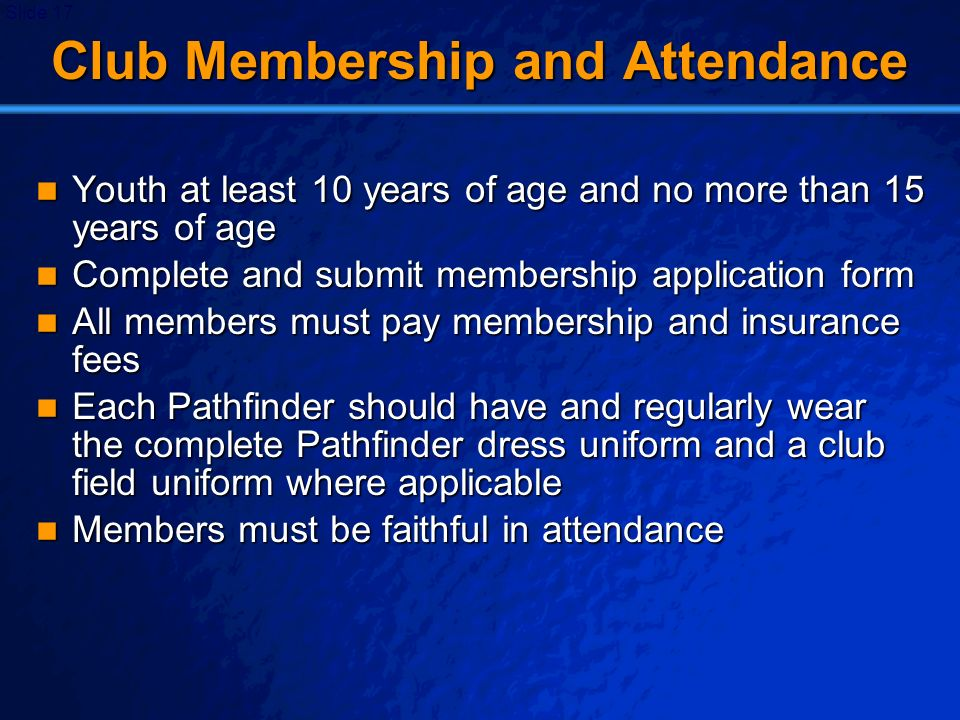 Club Membership and Attendance