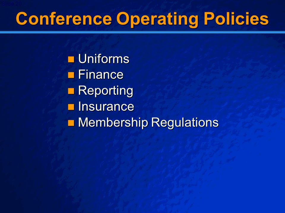 Conference Operating Policies