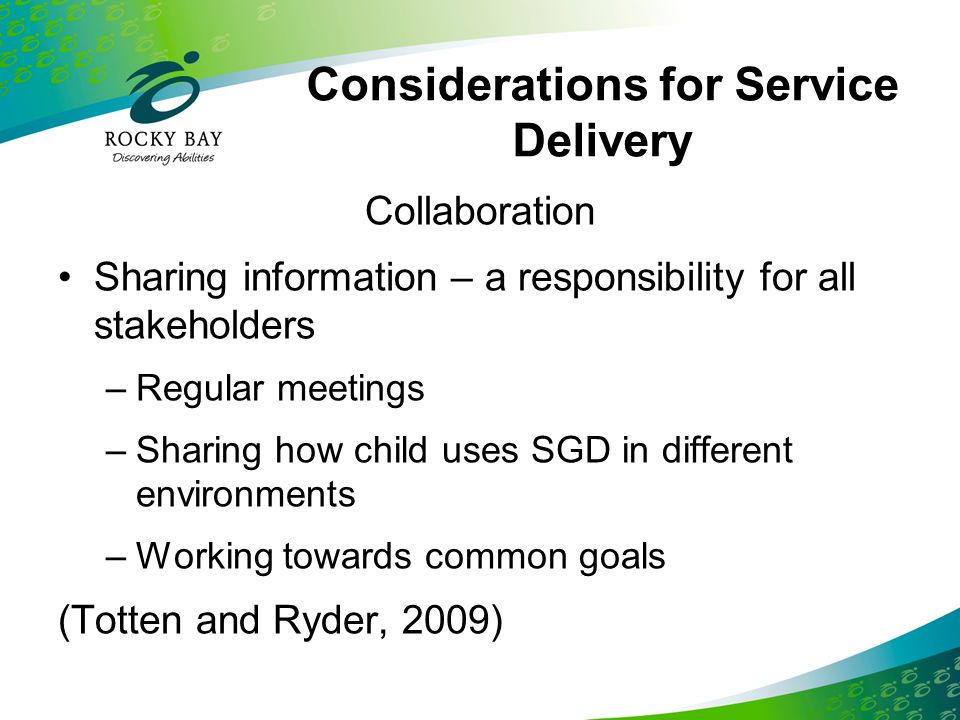 Considerations for Service Delivery
