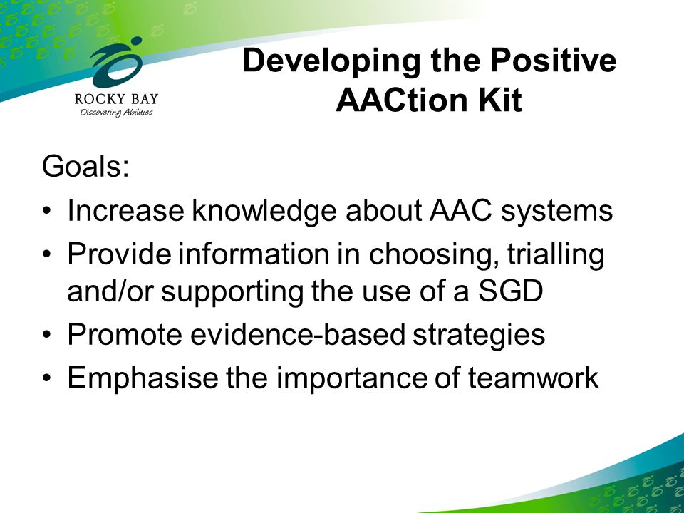Developing the Positive AACtion Kit