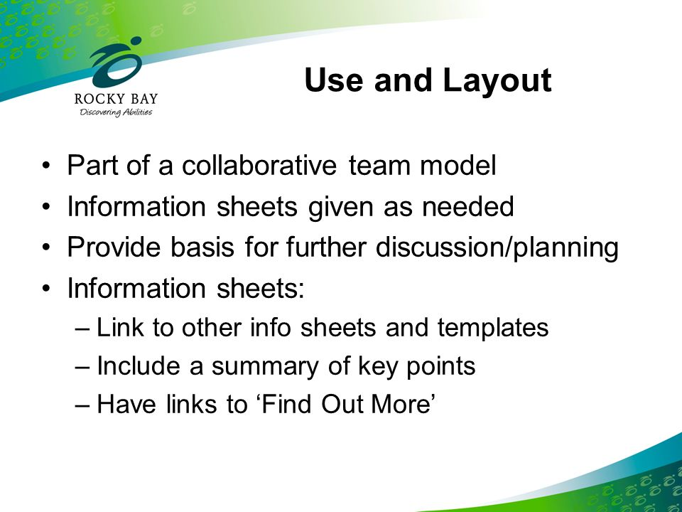 Use and Layout Part of a collaborative team model