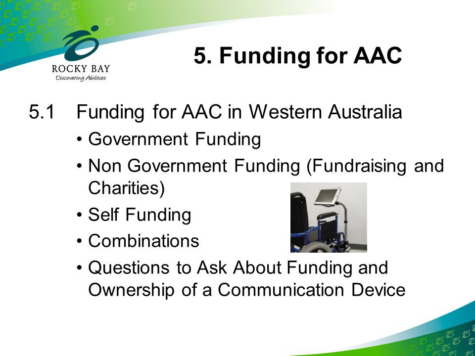 5. Funding for AAC 5.1 Funding for AAC in Western Australia
